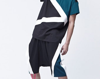 Black and Green Polo Shirt With Asymmetric front Stripes