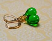 Green Earrings Small Drop Earrings Green Jewelry Leverback Earrings Emerald Green Earrings Glass Earrings Teardrop Earrings Gift Ideas