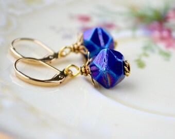 Blue Earrings, Iris Earrings, Midnight Blue Earrings, Czech Glass Earrings, Dark Blue Jewellery, Gold Leverback Earrings, Blue Drop Earrings