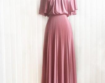 Vintage 70s accordion pleat cocktail dress/ pastel rose Grecian drape dress/ pink bridesmaid maxi gown/ long formal dress