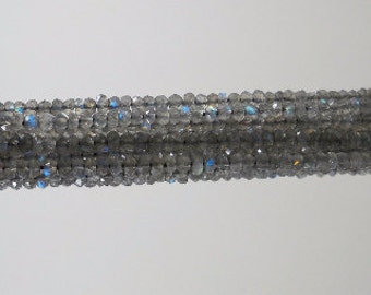 Labradorite Faceted Rondelle Beads Strand 3mm