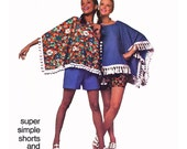"""1970 Vintage Poncho with Fringe Option and Easy 1-piece Shorts, Perfect for Beginners, Super Simple Simplicity 9230, Sz 10, Bust 32 1/2"""""""