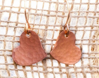 Copper Heart Earrings - Copper Hearts - Forged Copper Hearts - Hammered Copper Hearts - Textured Copper Earrings - Heart Earrings