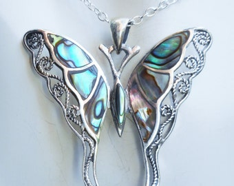 Butterfly necklace,abalone necklace,abalone butterfly necklace,sterling silver butterfly,abalone necklaces,butterfly necklaces, gift for her