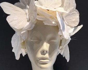 Diner en Blanc- Butterfly Headband- Flower Fascinator- White Butterfly Headdress- Derby- All White Party- Diner en Blanc 2017- Burning Man