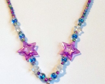 Aurora Magic - Sparkle Unicorn Stretch Necklace with Stars and Glitter and Iridescent Beads