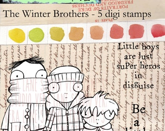 The Winter Brothers - trio of three whimsical and quirky boy digi stamps with sentiments