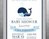 Whale Nautical Baby Shower Invitation, Customizable, Printable #152