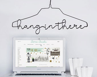 Hang In There Pun Hanger Quote Vinyl Wall Decal Motivational Modern Decor for Dorm Rooms, Homes, Living Rooms, Kid's Rooms Laundry Rooms
