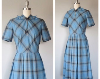 40s cotton plaid day dress size small