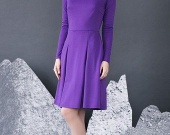 purple dress, space dress, skater style dress, skater dress, dresses, black party dress, casual dress, comfy dress, appliqued dress, dress