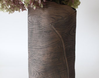 Large Brown Faux Bois Ceramic Vase / Wood Grain Rustic Handmade Vase