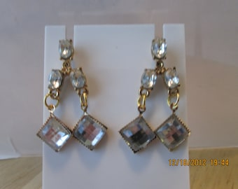 Post/Stud Gold Tone and Clear Crystal Beads Dangle Earrings
