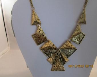 Gold Tone Bib Chain Necklace