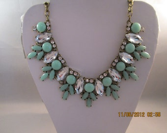 Deep Gold Tone Chain Necklace with Clear Crystal and Rhinestone Beadss and Aqua Green Beads