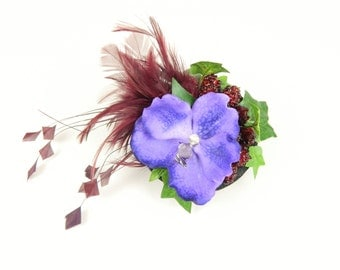 Fascinator Headpiece Feathered with Purple Blue Orchid, Raspberries, Feathers and Leaves - Cocktail Party Hat, Hen Night, Woodland Inspired