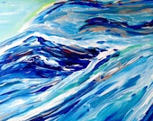 Blue Mountain Original Abstract Painting by Amy Drago