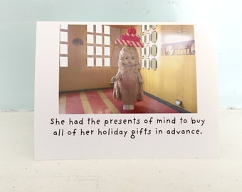 "Holiday Notecard ""Presents"" Funny Card Adventures of Claudia Gift Giving Humor"