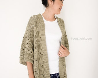 Summer Diamonds Kimono Cardigan, Crochet Pattern