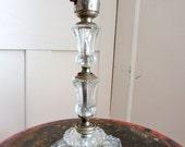 Art Deco Glass Lamp - Cut Glass - Crystal - Table Lamp - Stacked Glass - Clear Glass Lamp - 1940s - Small Lamp -
