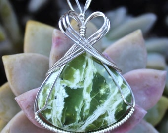 Green Serpentine Stone Pendant Sterling Silver Wire Wrapped Handmade Jewelry Rare Apple Green Stone Necklace
