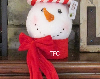Raz Snowman Head Ornament~Use in Wreath or Swag~Christmas Holiday Decorating~Timeless Floral Creations