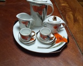 RESERVED for Evelyn Vintage Mini Child's Coffee/Tea  Set, Porcelain, Art Deco Style, Tiger Lily & Feather Design, 10 Pc.