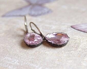 Sterling Silver Earrings - Bridesmaid Gifts - Wedding Earrings - Wire Wrapped Jewelry - Pink Glass Earrings - Dangle Earrings