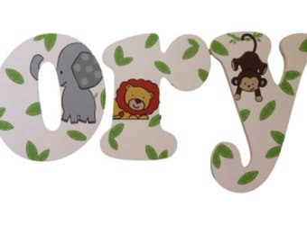 Jungle Letters Monkey Wooden Letters Wall Letters Painted Letters Wooden Name Letters Wall Hanging Nursery Letters Nursery Decor Wall Decor