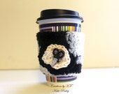 Sewing Scissors Cup Cozy Crochet Coffee Reuse Black and White