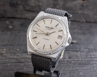 Vintage automatic Poljot mens watch with date window, russian watch, soviet mechanical watch, vintage russian watch, ussr cccp