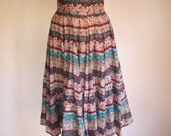 70s high waisted twirly cotton skirt in pretty liberty print-esque cotton