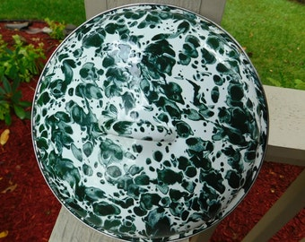 Vintage Green & White Spatter Ware Enamel Granite Ware Lid - 1940's - from DustyMillerAntiques