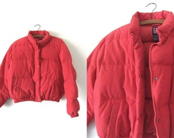 Bright Red Down Puffer Jacket - Sporty 90s Slouchy fit Minimal Hip Hop Style Baggy Cropped Ski Jacket - Womens Medium
