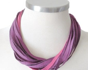 Colorful Leather Necklace, Violet and Pink Leather Bib Necklace, Leather Jewelry, Everyday Women Necklace