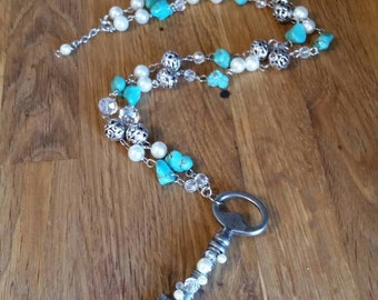 Turquoise, crystal and recycled skeleton key long necklace