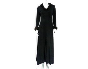 Mink Trimmed Maxi Dress by Julie Miller California Designer
