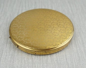 Vintage Gold Tone Round Powder Compact with Internal Mirror by Vanity Fair