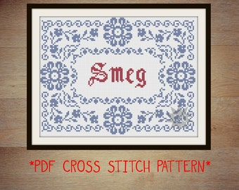 Red Dwarf 'Smeg' traditional style cross stitch sampler PDF pattern
