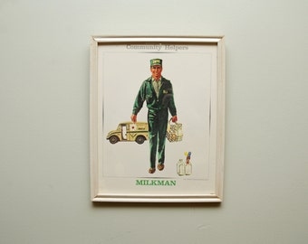 1960s Milkman Print Standard Printing Company Framed