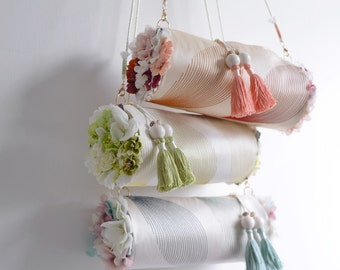 Flower Bouquet spring season cylinder crossbody bag. Colourful blooming flower shoulder bag. Ready to ship