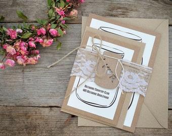 Custom Wedding Invitation, Burlap Wedding Invitation, Mason Jar Wedding Invitation, Rustic Wedding Invitation Kits, Set of 20