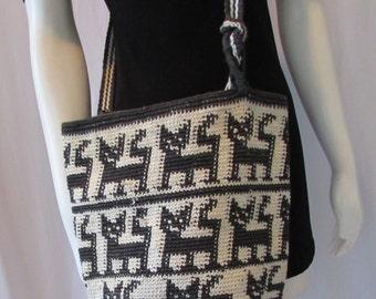 BOHO  Peruvian Handbag Black woven  Folk design Cats long strap  retro high fashion