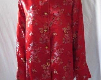 Asian Inspired Red Blouse/Jacket made in USA costume high fashion Reto