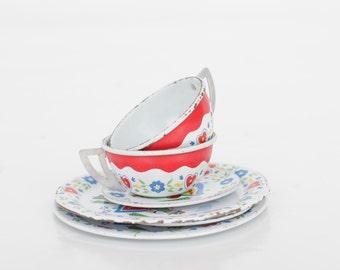 Vintage Metal Miniature Teaset / Doll Teaset / Scandinavian Design