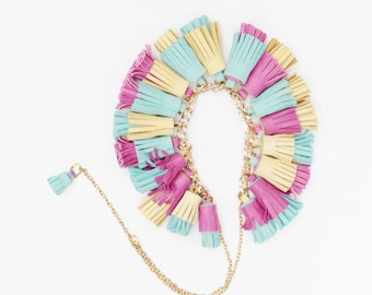 BOUQUET 25 / Mixed color natural leather tassel statement everyday necklace in bright colors - Ready to Ship