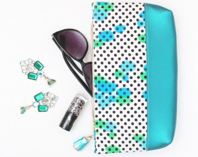 SALE/ FLERA 3 / Teal make up bag - leather cosmetic purse - handcolored pouch -big make up pouch-pencil case - Ready to Ship
