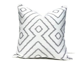 Modern Grey Ikat Pillow Cover, Geometric Grey and White Ikat Inspired Cushion Cover