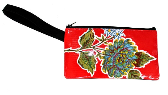Red, single flower, floral oil cloth, wristlet, flat bag, small bag