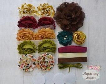 Fall/Autumn headband kit, baby shower headband kit, DIY baby headbands, headband station, shabby chic baby headbands, fall baby headbands